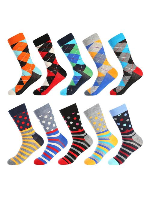 Bonangel Men's Fun Dress Socks - Colorful Funny Novelty Crazy Crew Socks Packs with Cool Argyle Pattern