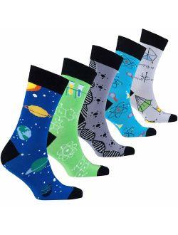 Socks n Socks-Mens 5pair Luxury Colorful Cotton Fun Novelty Dress Socks Gift Box