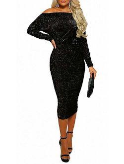 OLUOLIN Womens Sexy Sparkly Glitter Long Sleeve One Off Shoulder Ruched Sheath Irregular Midi Dress