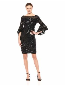 Women's Sequin Sheath With Illusion Neck And Cascading Bell Sleeve