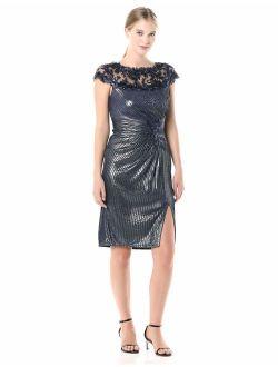 Tadashi Shoji Women's C/S Metallic Pintuck Dress W/Sequin Lace Neckline and Split