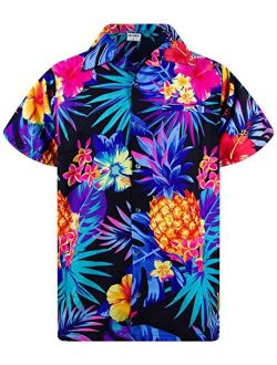 Funky Hawaiian Shirt Men Shortsleeve Frontpocket Hawaiian-print Leaves Flowers Pineapple