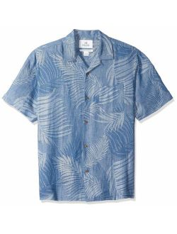 Rand - 28 Palms Men's Relaxed Fit Silk Linen Tropical Leaves Jacquard Shirt