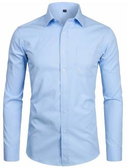 Men's Long Sleeve Dress Shirt Solid Slim Fit Casual Business Formal Button Up Shirts With Pocket