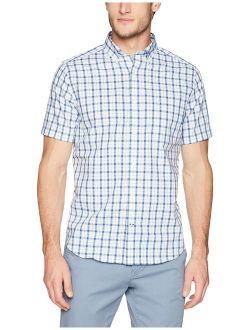 Men's Wrinkle Resistant Short Sleeve Plaid Button Front Shirt