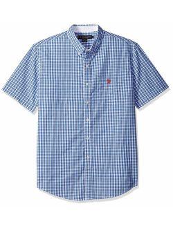 Men's Classic Fit Single Pocket Stripe, Plaid Print Sport Shirt