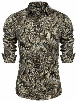 Men's Paisley Cotton Long Sleeve Shirt Floral Print Casual Retro Button Down Shirt