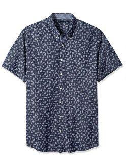 Men's Big And Tall Short Sleeve Signature Print Button Down Shirt