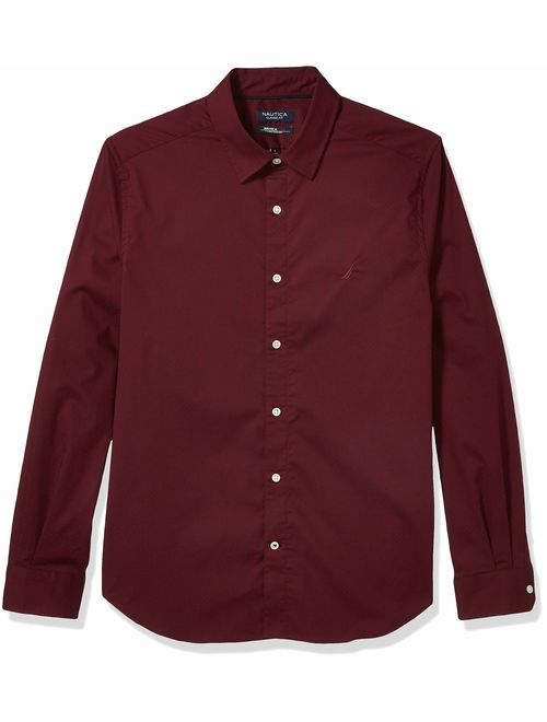 Nautica Men's Navtech Classic Fit Printed Wrinkle-Resistant Shirt