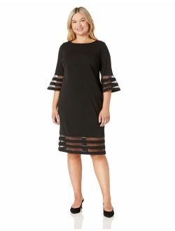 Women's Plus Size Bell Sleeve Sheath With Sheer Inserts Dress