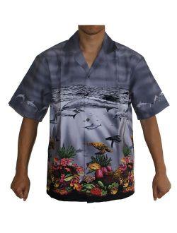 Made in Hawaii! Men's Pacific Whales Hawaiian Aloha Shirt