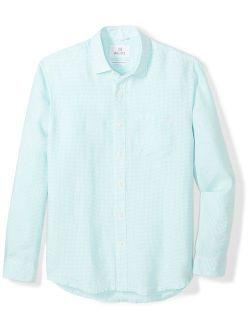 Men's Relaxed-fit Long-sleeve 100% Linen Check Shirt
