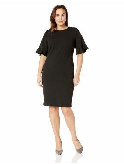 Women's Plus Size Short Flutter Sleeved Sheath Dress
