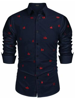 Men's Embroidered Casual Button Down Shirts Pine Tree Embroidery Long Sleeve Slim Fit Button Up Shirts