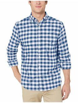 Men's Long Sleeve Oxford Plaid Stretch Cotton Button Down Shirt