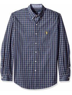 Men's Classic Fit Long Sleeve Plaid Woven Shirt