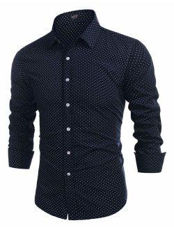 Men's Printed Dress Shirt Regular Fit Long Sleeve Button Down Shirts