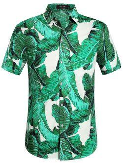 SSLR Men's Banana Leaves Button Down Casual Short Sleeve Hawaiian Shirt