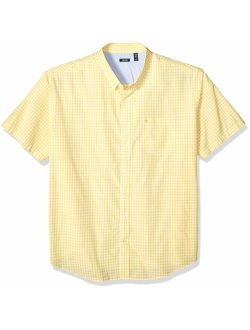 Men's Big And Tall Breeze Short Sleeve Button Down Gingham Shirt