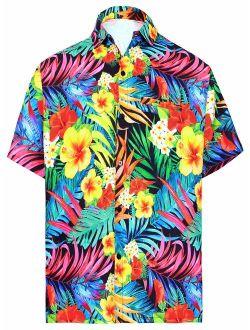 HAPPY BAY Men's Camp Tropical Hawaiian Shirt Casual Club Button Down Shirt Dress