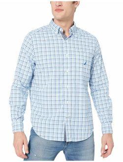 Men's Long Sleeve Solid Plaid Stretch Cotton Button Down Shirt