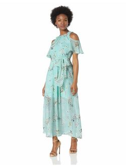 Women's Petite Cold Shoulder Maxi Dress With Self-sash Waist