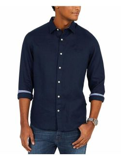 Men's Classic Fit Long Sleeve Solid Linen Shirt