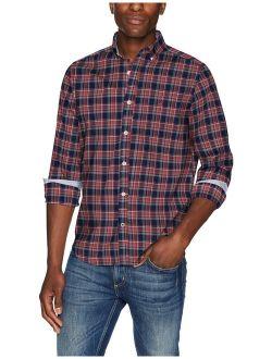 Men's Ls Wrinkle Resistant Stretch Poplin Plaid Button Down Shirt
