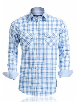 Double Pump Mens Shirts Long Sleeve Casual with Two Front Pockets Regular Fit Plaid Button Up Shirts for Men