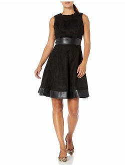 Women's Petite Round Neck Fit And Flare Dress With Faux Leather Trim