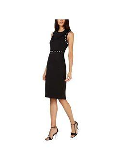 Women's Sleeveless Sheath With Button Detail Dress