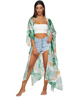 Women's Flowy Kimono Cardigan Open Front Maxi Dress