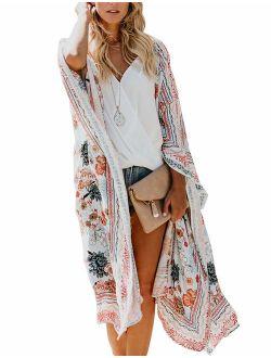 Women's Fall Long Kimono Flowy Cardigan Boho Chiffon Floral Beach Cover Up Tops