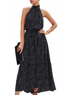 SVALIY Womens Summer Halter Backless Sleeveless Polka Dot Floral Party Long Maxi Beach Dresses
