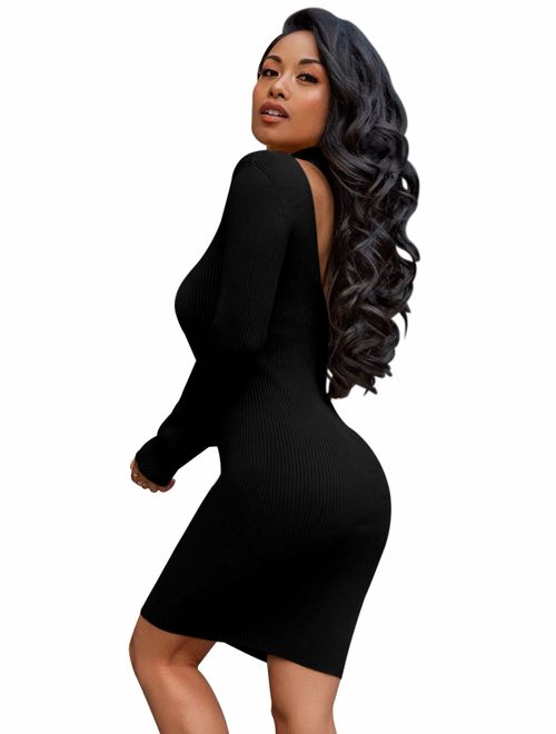 MessBebe Women's Sexy Bodycon Party Backless Dress Midi Sweater Dress Long Sleeve Casual Night Out Club Pencil Dress