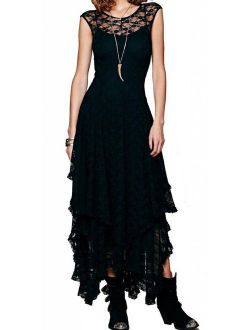 R.Vivimos Womens Sleeveless Backless Asymmetrical Layered Lace Long Dress with Slip Two Pieces