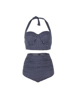 Women Vintage Swimsuits High Waisted Bikinis Bathing Suits Retro Halter Underwired Top