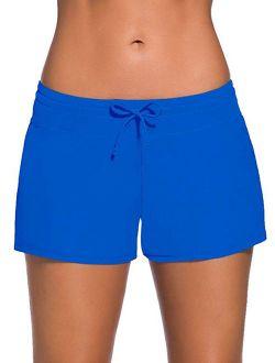 Women's Solid Swimwear Trunks Adjustable Swim Shorts Stretch Board Shorts Swimsuit Bottoms Pants Plus Size S-3xl