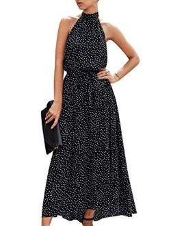 MsLure Women's Casual Halter Neck Sleeveless Floral Maxi Dress Backless Ruffle Beach Long Dress with Belt