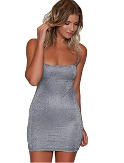 just quella Women Clubwear Party Sexy Dresses Silver Backless Bodycon Dress
