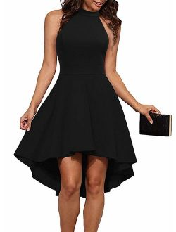 Sarin Mathews Womens Halter Neck High Low Dresses Sexy Backless A Line Cocktail Party Skater Dress