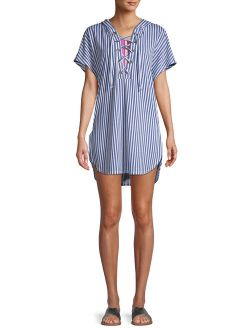 Women's Striped Lace Up Cover Up With Hood