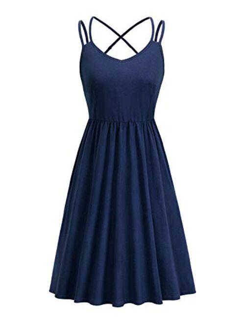 ULTRANICE Women's Summer Floral Sleeveless Adjustable Spaghetti Backless Short Dress
