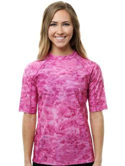 Aqua Design Womens Relaxed Fit Short Sleeve Sun Protection Rashguard Swim Surf Snorkel Shirt