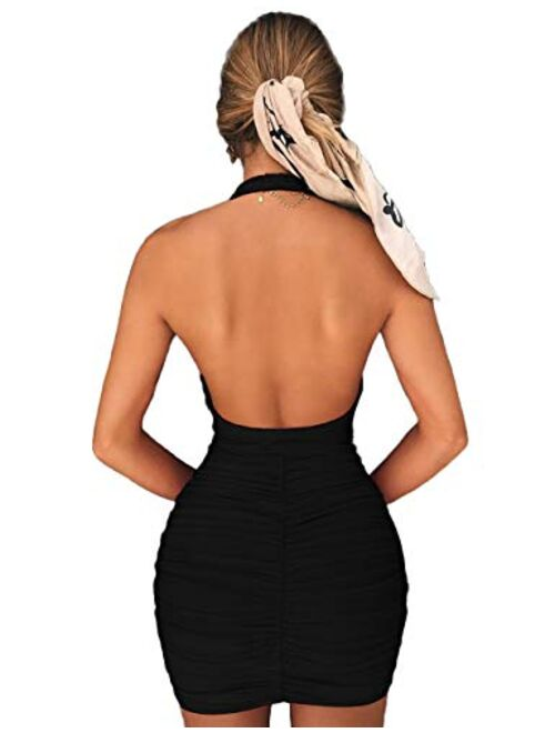 Navvour Women's Halter Sleeveless Backless Mini Dress Ruched Bondycon Party Club Dress