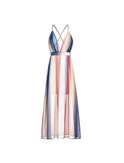 Women Chiffon Boho Backless Beach Dress Sexy Summer Striped Maxi Dress Deep V Sundress for Ladies