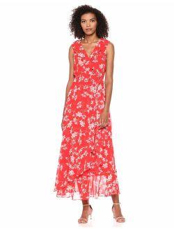 Women's Sleeveless Ruffle Wrap Maxi