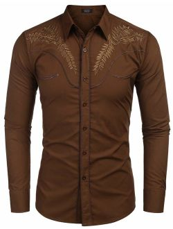 Men's Western Shirts Long Sleeve Slim Fit Embroideres Cowboy Casual Button Down Shirt