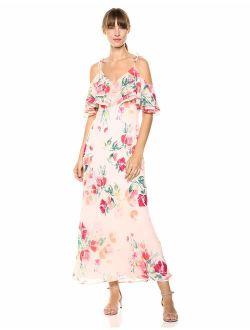 Women's Cold Shoulder V-neck Chiffon Maxi Dress