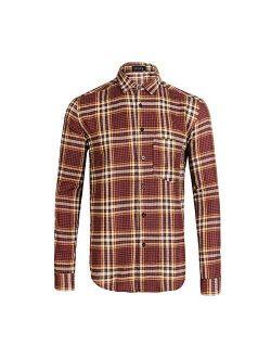 Men's Regular Fit Long Sleeve Button Down Plaid Flannel Shirt